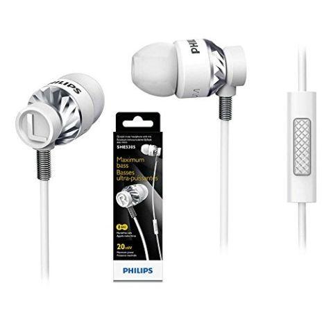Philips she5305wt DJ Style in-Ear Kopfhörer mit Mikrofon she5305 weiß
