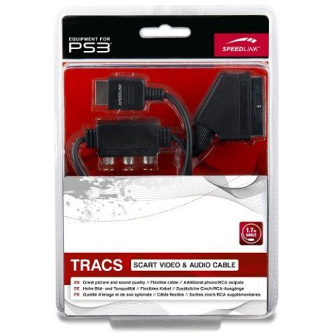 Speedlink (B-WARE) SCART-RGB-Kabel für PS3 - TRACS Scart Video & Audio Cable (Störungsfreie Übertragung von Bild und Ton - sichere Abschirmung für optimale Bild- und Tonqualität - robuste Stecker mit festem Halt) 1,7m Kabellängeschwarz